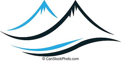 berge, steil, spitzen, logo