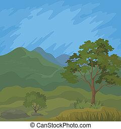 Berglandschaft mit Baum