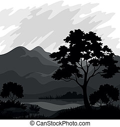Berglandschaft mit Baum, Silhouetten