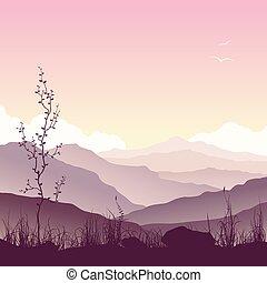 Berglandschaft mit Gras und Baum