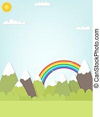 Berglandschaft und Regenbogen.