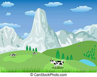 Berglandschaft und Weideland