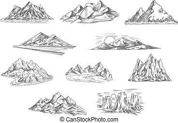 Berglandschaftenskizzen für Naturdesign.