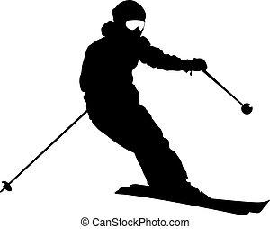 Bergskier, die den Hang runterfahren. Vector Sports Silhouette