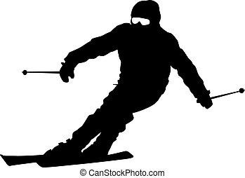 Bergskier, die den Hang runterfahren. Vector Sports Silhouette.