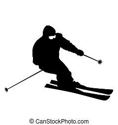 Bergskier rasen den Hang runter. Vector Sportsilhouette.