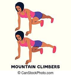 Bergsteiger. Sport exersice. Silhouetten von Frauen, die Sport treiben. Training.