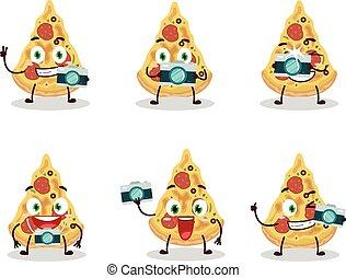 beruf, zeichen, karikatur, fotograf, pizza, emoticon, scheibe