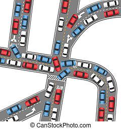 beschäftigt, auto, fahren, marmelade, verkehr, autos, straße