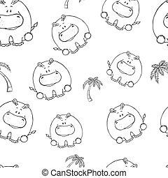 beschaffenheit, muster, begriff, lustiges, kinder, seamless, spaß, hintergrund., giraffe., tiere, silhouetten, weißes, reizend, vektor, animals., design, druck, dicker , hand-drawn