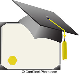 bescheinigung, &, kappe, diplom, studienabschluss, mörtelbrett