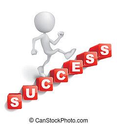 beschriftung, gemacht, wort, erfolg, person, würfel, kletternde treppe, 3d