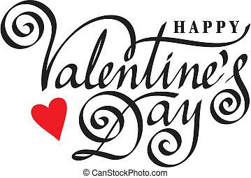 beschriftung, glücklich, hand, tag, valentine
