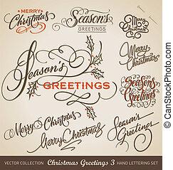 beschriftung, hand, vektor, satz, weihnachten