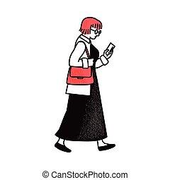 besitz, freigestellt, gehen, smartphone, frau, hintergrund., weißes, seitenansicht
