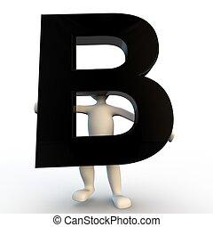 besitz, leute, b, zeichen, klein, schwarz, menschliche , brief, 3d