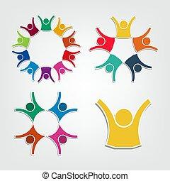 besitz, leute, circle., gemeinschaftsarbeit, logo, gruppe, personen