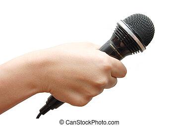 besitz, mikrophon, hintergrund, hand frau, weißes