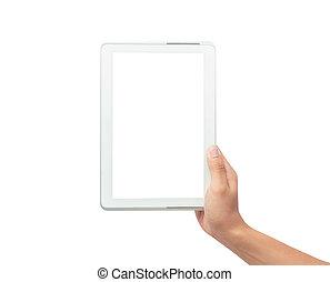 besitz, tablette, ausschnitt, mann, hintergrund, freigestellt, edv, pc, schirm, leer, path., hand, weißes