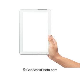 besitz, tablette, pfad, ausschnitt, mann, hintergrund, freigestellt, edv, pc, schirm, leer, hand, weißes