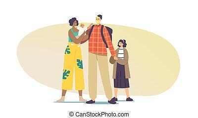 besitz, zwischenrassisch, eltern, charaktere, multirassisch, kinder, familie, kids., multikulturell, glücklich, hände, gemischter