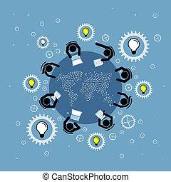 besprechen, gruppe, landkarte, leute, runder , brainstorming, oberseite, ansicht., welt, tisch