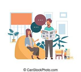 besprechen, mann, kommunikation, blase, medien, zeitungen, lesende , frau, paar, unterhaltung, masse, begriff, zusammen, nachrichten
