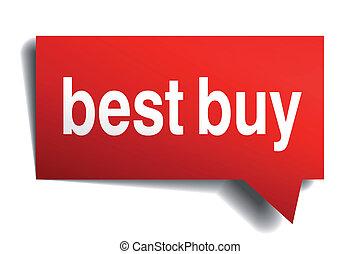 Best Buy red 3d realistische Papier Rede Blase isoliert auf weiß.