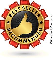 Best seller empfohlen goldene Etiketten, Vektorgrafik.