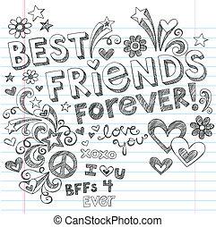 Beste Freunde, zwielichtiger Doodles Vektor