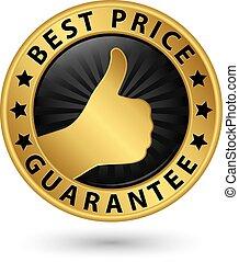 Bester Preis garantiert goldenes Etikett mit Daumen nach oben, Vektorgrafik.