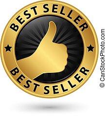 Bester Verkäufer mit goldenem Etikett, Vektorgrafik.