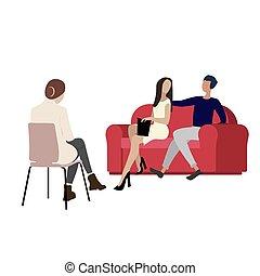 besuchen, kabinett, mann, paar, frau, psychologe