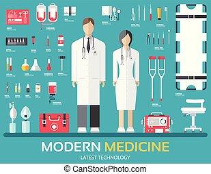 Besuchen Sie den Arzt. Medizin versorgt medizinisches Personal und Personal. Flat health care Icons setzen Illustrationen. Hospital Elemente Design Hintergrundkonzept