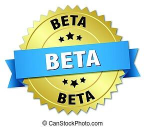 Beta-Runde isolierte Goldabzeichen.