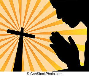 beten, kreuz, vorher