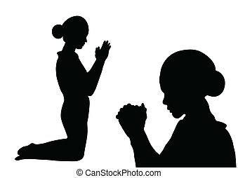 Beten Sie Silhouette.