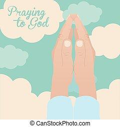 Beten zu Gott Design.