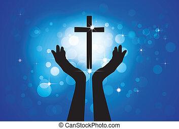 Betet oder verehrt an das heilige Kreuz oder Jesus - vektorische Darstellung eines treuen christlichen Gottesgottes mit blauem Hintergrund von Sternen und Kreisen