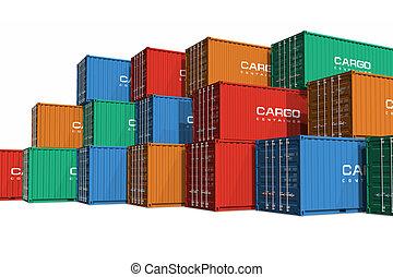 Betonte farbige Frachtcontainer