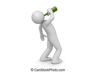 betrunken, grün, flasche, mann