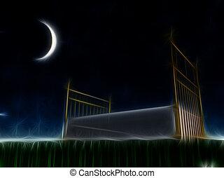 Bett draußen unter den Sternen.