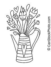 bewässerung, hand, children., reihe, buechse, kreativ, fruehjahr, gezeichnet, reizend, erwachsene, abbildung, buch, home., style., zeichnung, kreativität, wildflowers, seiten, färbung, vektor