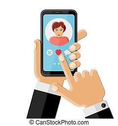 beweglich, app, begriff, datieren
