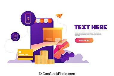 beweglich, app., vektor, online, illustration., shoppen