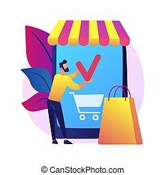 beweglich, begriff, vektor, shoppen, metaphor., app