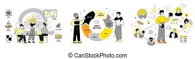 beweglich, design, vektor, methodologie, scrum, wohnung, abbildung, marketing, set.