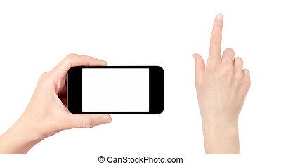 beweglich, freigestellt, hand, telefon, berühren, besitz