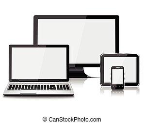 beweglich, laptop, realistisch, telefon, textanzeige, edv, tablette, satz