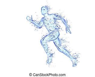bewegung, gemacht, figur, flüssiglkeit, athlet, -, wasser, rennender , kunstwerk, fallender , tropfen, mann